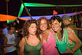 Three woman having fun at a Full Moon Party, Hat Rin Nok, Sunrise Beach, Ko Pha-Ngan, Thailand