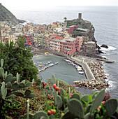 Blick auf die kleine Hafenstadt Vernazza, Cinque Terre, Italien