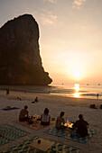 Tourists at beach of Hat Rai Leh, Railey West, Laem Phra Nang, Railay, Krabi, Thailand, after the tsunami