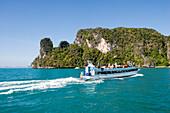 Excursion boat passing Koh Hong, Hong Island, Krabi, Thailand
