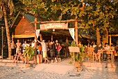 Tourists visiting BoBo's Plaza, a beach bar at Hat Rai Leh, Railay West, Laem Phra Nang, Railay, Krabi, Thailand, after the tsunami