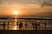 People at beach in sunset, Hat Rai Leh, Railey West, Laem Phra Nang, Railay, Krabi, Thailand, after the tsunami