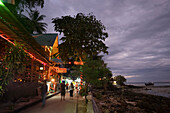 Boardwalk with restaurants, bars and shops in the evening, Ko Phi Phi Don, Ko Phi Phi Island, Krabi, Thailand, after the tsunami