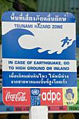 Close-up of a tsunami danger sign, Ko Phi Phi Don, Ko Phi Phi Island, Krabi, Thailand, after the tsunami