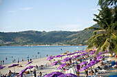 View over Patong Beach with a lot of purple parasols, Ao Patong, Hat Patong, Phuket, Thailand, after the tsunami