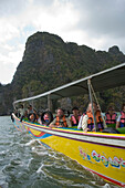 Tourists having a boat trip, Phang-Nga Bay, Ao Phang Nga Nation Park, Phang Nga, Thailand