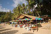 View over Laem Singh Beach with beach bar, between Hat Surin and Hat Kamala, Phuket, Thailand, after the tsunami