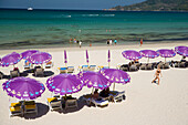 View over Kalim Beach with sunlounges and parasols, Hat Kalim, Ao Patong, Phuket, Thailand, after the tsunami