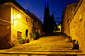 Alleyway and steps at night, Via Crucis, El Calvari, Kalvarienberg, Pollenca, Mallorca, Spain
