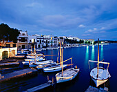 Fishing port at night, Porto Colom, Mallorca, Spain