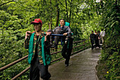 path and stairs, porters with sedan chairs, mountains, Emei Shan, China, Asia, World Heritage Site, UNESCO