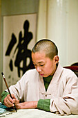 young monk with calligraphy brush, evening school, Xixiang Chi monastery and temple, Elephant Bathing Pool, China, Asia, World Heritage Site, UNESCO