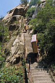 Porter carrying a bed up steep mountain steps, Hua Shan, Shaanxi province, China, Asia