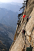 vertical stone cliffs, Taoist mountain, Hua Shan, Shaanxi province, Taoist mountain, China, Asia