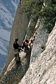 vertical stone cliffs, chains and planks, Taoist mountain, Hua Shan, Shaanxi province, Taoist mountain, China, Asia