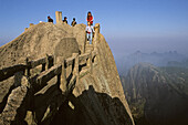 steep rock carved stone steps to Lotus Peak, Huang Shan, Anhui province, steep climb, stone steps, World Heritage, UNESCO, China, Asia