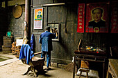 village barber, Mao portrait, courtyard of timber house in Chengkan, ancient village, living museum, Chengkan near Huangshan, Anui, China, Asia