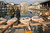 dried local hams, village pond, part of a complex water system, where water is channelled in front of every house, Hongcun, Huangshan, ancient village, living museum, China, Asia, World Heritage Site, UNESCO
