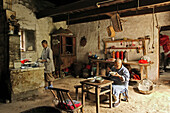 Interior view of the nunnery's kitchen at the village Minyuan, Jiuhua Shan, Anhui province, China, Asia