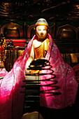 Buddha figure at Yaoshi Temple at the village Minyuan, Jiuhua Shan, Anhui province, China, Asia