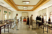 People at dining hall at the Buddhist College, Jiuhua Shan, Anhui province, China, Asia