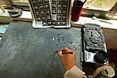 Calligraphy, practice, Buddhist College, Ganlu temple, Jiuhuashan, Mount Jiuhua, mountain of nine flowers, Jiuhua Shan, Anhui province, China, Asia