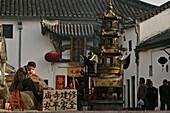 incense burner, Monastery, Jiuhuashan, Mount Jiuhua, mountain of nine flowers, Jiuhua Shan, Anhui province, China, Asia