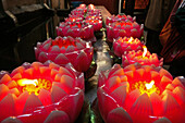 Candles in form of lotus flowers, Monastery, Jiuhuashan, Mount Jiuhua, mountain of nine flowers, Jiuhua Shan, Anhui province, China, Asia