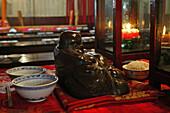 offerings for Buddha in dining hall, Monastery, Jiuhuashan, Mount Jiuhua, mountain of nine flowers, Jiuhua Shan, Anhui province, China, Asia