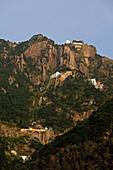 View at monasteries at a mountainside, Jiuhua Shan, Anhui province, China, Asia