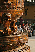 bronze cauldron, Fayu Monastery on the Buddhist Island of Putuo Shan near Shanghai, Zhejiang Province, East China Sea, China, Asia