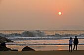 Hundred step beach, sunrise on beach, Buddhist Island of Putuo Shan near Shanghai, East China Sea, Zhejiang Province, China, Asia