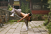 Duel and training between two Shaolin monks, Shaolin Monastery, known for Shaolin boxing, Taoist Buddhist mountain, Song Shan, Henan province, China
