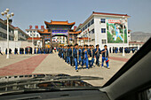 Pupils on the way to Kung Fu training, new Kung Fu school, over 30.000 pupils are taught in different schools, Song Shan, Henan province, China