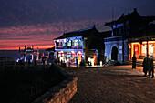Heavenly Street at sunset at the Southern Gate to Heaven, Mount Tai, Tai Shan, Shandong province, Taishan, Mount Tai, World Heritage, UNESCO, China