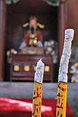 Temple, ash of incense stick, ash, Tai Shan, Shandong province, Taishan, Mount Tai, World Heritage, UNESCO, China, Asia
