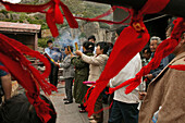 locks and red ribbons are donated for long life, health and wealth, Azure Cloud Temple, Tai Shan, Shandong province, Taishan, Mount Tai, World Heritage, UNESCO, China, Asia