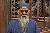 portrait of elderly bearded Taoist monk, Wudang Shan, Taoist mountain, Hubei province, Wudangshan, Mount Wudang, UNESCO world cultural heritage site, birthplace of Tai chi, China, Asia