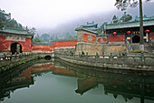 pond in front of the Purple Heaven Hall, Zi Xiao Gong, Wudang Shan, Taoist mountain, Hubei province, Wudangshan, Mount Wudang, UNESCO world cultural heritage site, birthplace of Tai chi, China, Asia