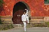 Taichi training from Wudang School of Martial Arts, in front of Purple Heaven Hall, Zi Xiao Gong, peak 1613 metres high, Wudang Shan, Taoist mountain, Hubei province, Wudangshan, Mount Wudang, UNESCO world cultural heritage site, birthplace of Tai chi, Ch