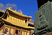 Copper Palace, Pagoda, Xian Tong Temple, Monastery, Wutai Shan, Five Terrace Mountain, Buddhist Zentrum, town of Taihuai, Shanxi province, China, Asia, Xiantong Temple monastery, Xian Tong Si, oldest monastery, Ming, Golden Hall in copper