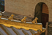 Roof of Copper Palace, made of bronze, symbolic animal decoration, Xian Tong Temple, Monastery, Wutai Shan, Five Terrace Mountain, Buddhist Centre, town of Taihuai, Shanxi province, China, Asia