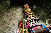 16 storey wooden pagoda in the beamless Hall, Xiantong Temple, brick building, Mount Wutai, Wutai Shan, Five Terrace Mountain, Buddhist Centre, town of Taihuai, Shanxi province, China