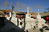stupas in courtyard of Santa Monastery, Wutai Shan, Buddhist holy Mountain, Shanxi province, China, Asia