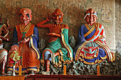 demons, wood carving, summit temple, Southern Terrace, Wutai Shan, Five Terrace Mountain, Buddhist Centre, Shanxi province, China, Asia