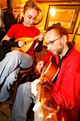 Musicians playing in Molly Malones Irish Pub, Josefov, Prague, Czech Republic