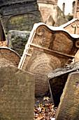 Gravestones in an old Jewish Cemetery, Josefov, Prague, Czech Republic