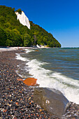 Waves rushing against rocks, Koenigsstuhl, Jasmund National Park, Rugen Island, Mecklenburg Western Pomerania, Germany