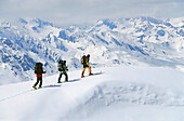 Three people on a skitour, Stubai, Tyrol, Austria
