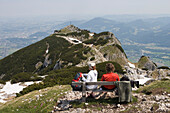 Hikers admiring the view from Untersberg Mountain, Near Salzburg, Austria